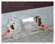 側溝のモルタル面の爆裂